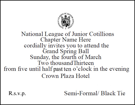 National League of Junior Cotillions Ball Invitations Order Form